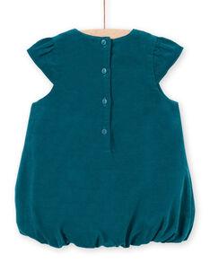 Vestido globo de color azul pato de manga corta para bebé niña MITUROB2 / 21WG09K2ROB714
