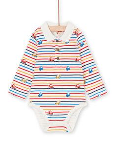 Body de rayas de color crudo y amarillo, con estampado de coche, para bebé niño LUHABOD2 / 21SG10X1BOD001