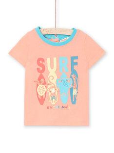 Camiseta de manga corta de color melocotón, para bebé niño LUBONTI3 / 21SG10W2TMCD311