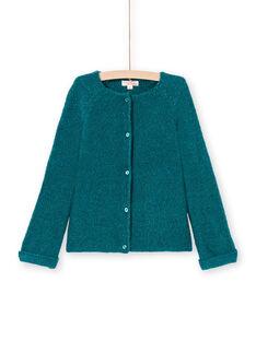 Cárdigan de manga larga liso de color azul pato para niña MAJOCAR2 / 21W90115CAR714