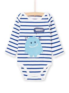 Body blanco de manga larga de rayas con estampado de monstruo para bebé niño MEGABODMON / 21WH14B3BDL000