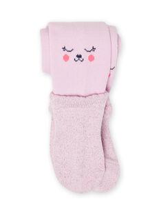 Leotardos lisos de color lavanda con estampado de ositos para niña MYIPLACOL / 21WI09O1COL326