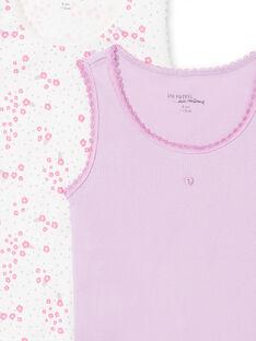 Pack de 2 camisetas de tirantes de color blanco y malva a juego para niña MEFADERIB / 21WH11B3HLI001