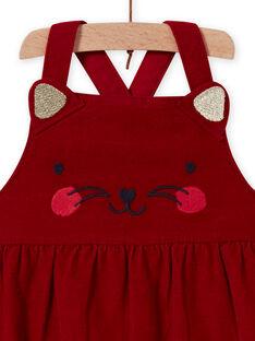 Vestido amplio de terciopelo de color rojo con estampado de gato para bebé niña MIMIXROB2 / 21WG09J3ROB511