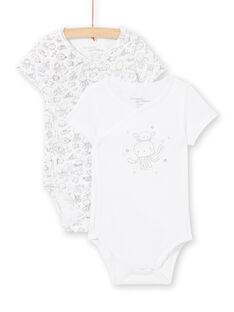 Pack de 2 bodis blancos para recién nacido niño LOU2BOD1 / 21SF04I1BOD000