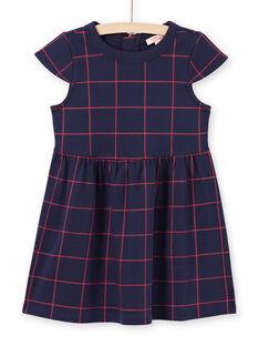 Vestido de manga corta de color azul noche de cuadros rojos para niña MAJOROB4 / 21W90124ROBC205