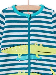 Pelele azul de rayas con estampado de cocodrilo para bebé niño MEGAGRECRO / 21WH1482GRE715