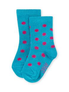 Calcetines turquesa de lunares rosas para bebé niña MYIJOSOQ4 / 21WI091ASOQ209