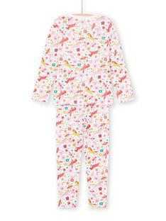 Pijama de camiseta y pantalón de color rosa y crudo con estampado de unicornios y fantasía para niña MEFAPYJUNI / 21WH1186PYJ001