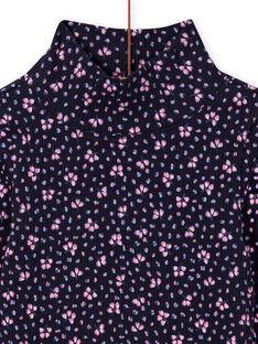 Jersey fino de canalé de color azul marino y estampado floral para niña MAJOSOUP6 / 21W901N3SPL070