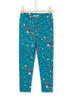 Leggings de color azul pato con estampado floral para bebé niña MYATULEG1 / 21WI01K1CAL714