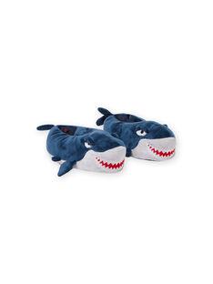 Zapatillas de casa de color azul de tiburón 3D para niño MOPANTREQ3D / 21XK3631PTD715