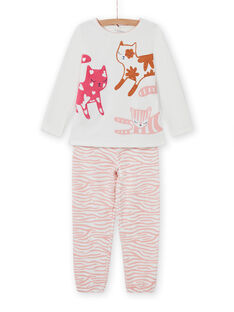 Pijama de camiseta y pantalón con estampado de gatos para niña MEFAPYJCAT / 21WH1184PYJ001
