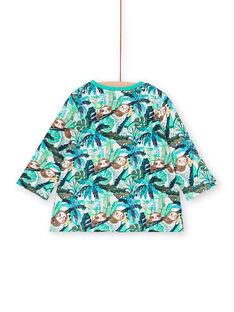 Camiseta azul y verde, con estampado de hojas, para niño LUVERTUN / 21SG10Q1TML001