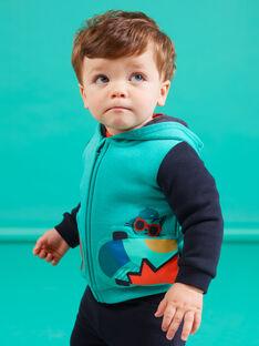 Cárdigan con capucha de color turquesa con estampado de monopatín para bebé niño MUTUGIL / 21WG10K1GILC217
