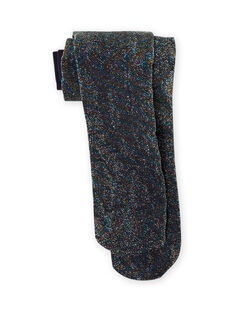 Leotardos de canalé de color azul noche de lúrex para niña MYAJOSCOL5 / 21WI011BCOLC205
