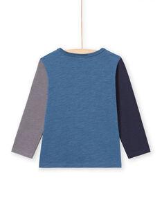 Camiseta de manga larga azul con estampado de dinosaurios para niño MOPATEE2 / 21W902H2TML219