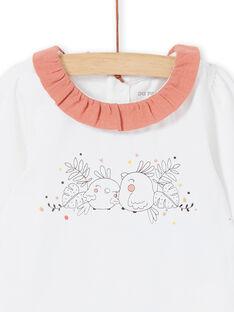 Body con cuello en contraste de color blanco para niña recién nacida LOU1BOD4 / 21SF03H2BOD000