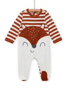 Pelele de terciopelo de rayas con estampado de zorro para bebé niño MEGAGRENAR / 21WH1494GRE001