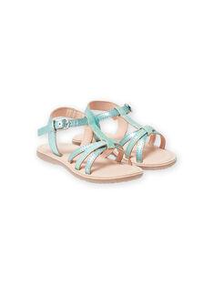 Sandalias de piel de color verde irisado con tiras brillantes para niña LFSANDLOU / 21KK355CD0E600