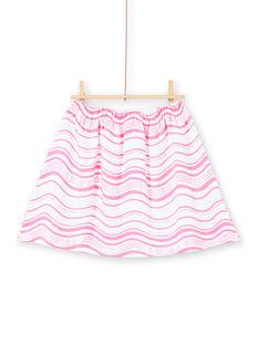 Falda de rayas de color rosa flúor y blanco LABONJUP2 / 21S901W1JUP000