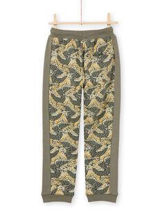 Pantalón de chándal caqui con estampado de leopardo para niño MOKAJOG2 / 21W902I2JGB612