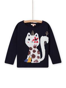 Camiseta de color azul noche con estampado de gato-unicornio para niña MAMIXTEE3 / 21W901J2TMLC205