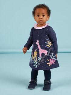 Vestido azul marino de terciopelo con estampado de la sabana bordada para bebé niña MIPLAROB1 / 21WG09O3ROBC202