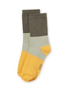Calcetines de color caqui, beige y amarillo para niño MYOJOCHOC2 / 21WI0218SOQG631