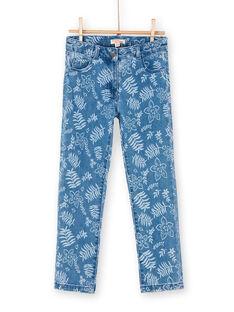 Vaquero azul con estampado floral LANAUJEAN / 21S901P1JEAP274