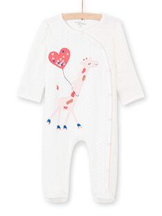 Pelele de color crudo con estampado de rayas y lunares para bebé niña MEFIGREGIR / 21WH1332GRE001