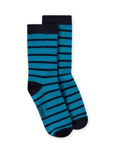 Calcetines de rayas de color azul marino y azul zafiro para niño MYOJOCHOR3 / 21WI0219SOQC211
