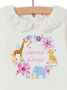 Camiseta de color crudo con cuello de gasa y estampado floral de fantasía para bebé niña MIPLABRA / 21WG09O1BRA001