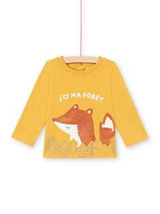 Camiseta de manga larga de color mostaza con estampado de zorro y bosque para bebé niño MUSAUTEE2 / 21WG10P2TMLB106