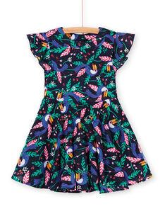 Vestido negro y verde con estampado de tucanes LANAUROB1 / 21S901P2ROBC205