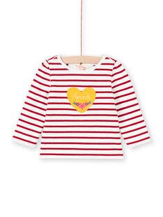 Camiseta reversible blanca y roja para bebé niña MIMIXTEE / 21WG09J1TML001