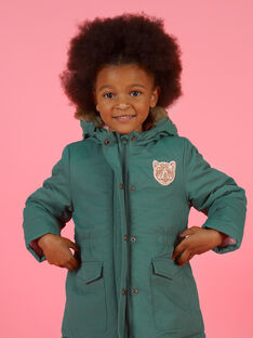 Parka de color caqui con capucha para niña MAKAPARKA / 21W90152PAR612