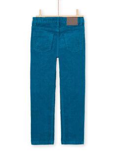 Pantalón de color azul pato de pana para niño MOJOPAVEL1 / 21W90213PAN714