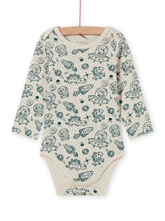Body de manga larga de color crudo y azul con estampado de universo para bebé niño MEGABODCHA / 21WH14C2BDL080