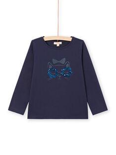 Camiseta de manga larga de color azul noche con estampado de gato para niña MAJOYTEE1 / 21W90113TMLC205