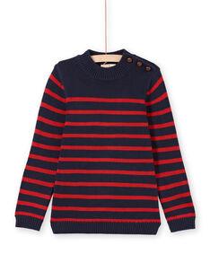 Jersey de color azul marino y rojo de rayas para niño MOJOPUL3 / 21W90212PUL505