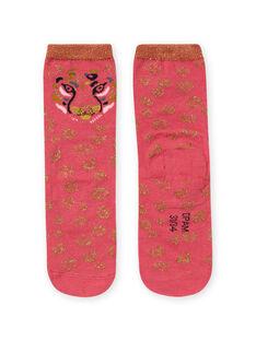 Calcetines rosas y dorados con estampado de leopardo para niña MYAKACHO / 21WI01I1SOQD305