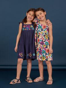 Vestido de color azul marino con estampado floral para niña LAMUMROB4 / 21S901Z2ROBC211
