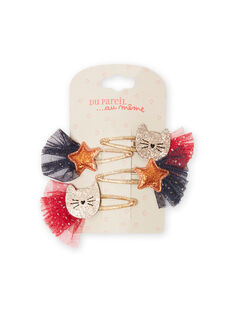 Pack de 4 horquillas de gatos y estrellas para niña MYANOCLIC2 / 21WI01T6BRT955