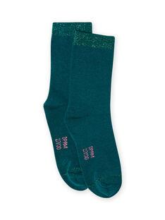Calcetines de color azul pato para niña MYAJOCHO3 / 21WI0115SOQ714