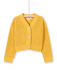 Cárdigan de manga larga de punto de color amarillo para niña MAMIXCAR1 / 21W901J2CARB106