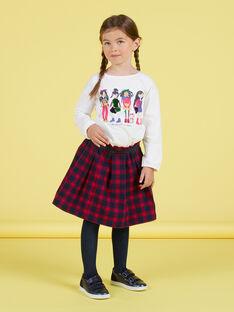 Falda evasé de color azul noche y rojo con estampado de cuadros escoceses para niña MAMIXJUP1 / 21W901J2JUPC205