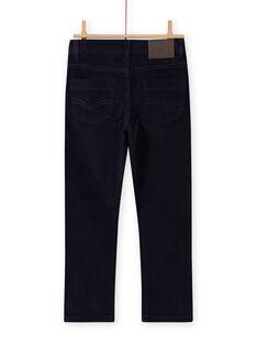 Pantalón liso de pana de color azul noche para niño MOJOPAVEL4 / 21W90211PAN705
