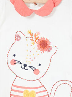 Camiseta blanca de manga larga con cuello en contraste LINAUBRA / 21SG09L1BRA001