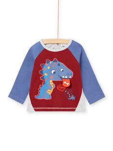 Camiseta azul, burdeos y gris jaspeado para bebé niño MUPATEE1 / 21WG10H1TML719